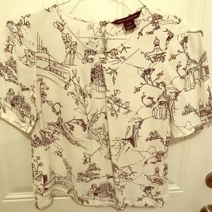 French connection blouse with Parisian print